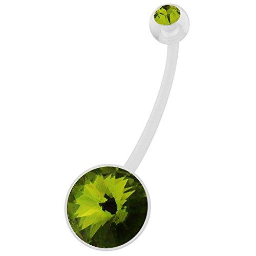 (AtoZ Piercing Olivine Round CZ Stone Clear PTFE Bio Flex Plast Pregnancy Belly Button Ring Jewelry)