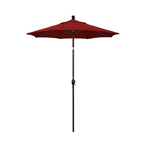 California Umbrella 6' Round Aluminum Market Umbrella, Crank Lift, Push Button Tilt, Bronze Pole, Sunbrella Jockey (Red Sunbrella Canopy)