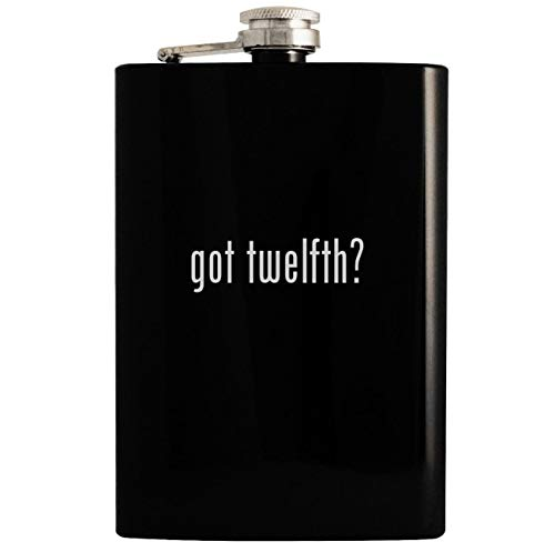 got twelfth? - Black 8oz Hip Drinking Alcohol Flask 12th Street By Cynthia Vincent