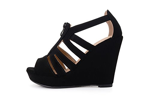 Black Mila Lisa Lady Toe Wedges Platform 5 Strappy Open p1SAwxqp8