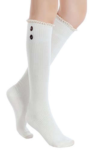 Lace Detail High Boot with Trim Knee Socks Women's ICONOFLASH 11 9 Button Size and White twSxvEqnYn