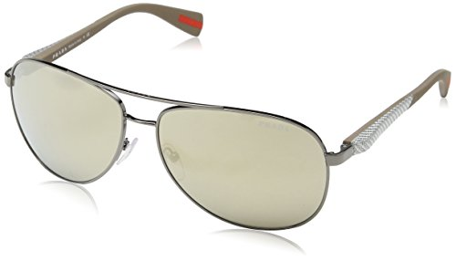 Prada Sport Sunglasses - PS51OS / Frame: Gunmetal Lens: Mirror - Prada Men Aviator Sunglasses