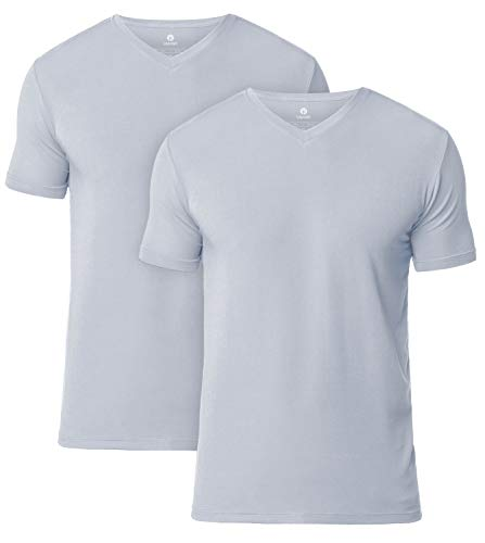 (LAPASA Men's Short Sleeve Modal Undershirts V-Neck T-Shirts Solid Plain Tees 2 Pack M08 (L/Chest 41