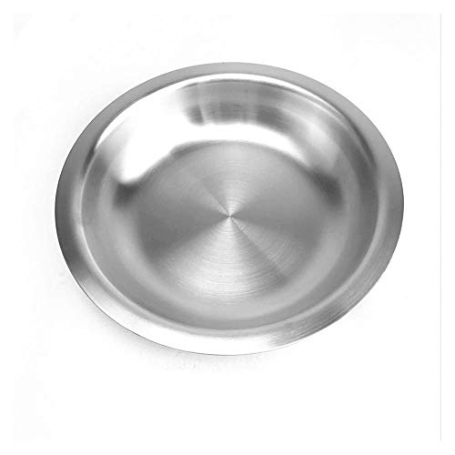DEI QI Eco-Friendly 304 Stainless steel dinner plates round family fruit dessert plate serving tray frosted polishing 1 PCS
