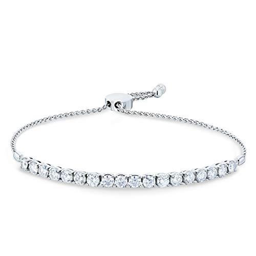 - Moissanite Bolo Strand Bracelet 2 7/8 CTW 14k White Gold, Adjustable Length, 10.5