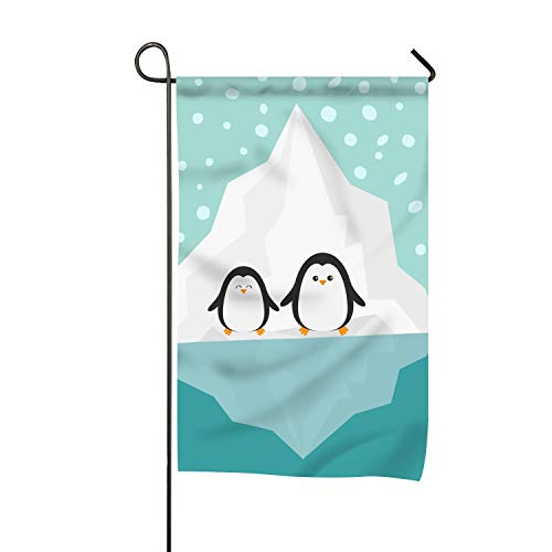 PILLO Home Accents Garden Flag, Butterfly Cross Decoration Penguin Family Iceberg Blue Water Snow in The Sky