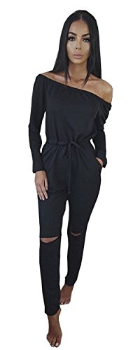 Longwu Women's Fashion off-Shoulder Drawstring Jumpsuits Rompers Knee Hole Pants Black-XXL
