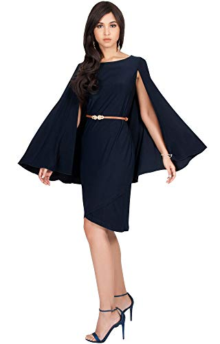 Batwing Belt (KOH KOH Womens Long Cape Batwing Cloak Dolman Sleeve Belt Knee Length Fall Winter Work Tunic Dressy Formal Casual Cocktail Funeral Mini Midi Dress Dresses, Navy Blue L 12-14)