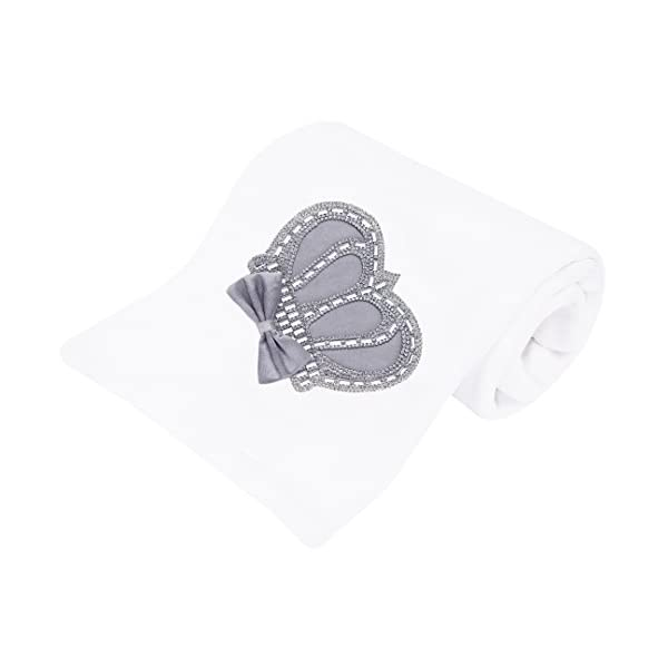 Lilax Baby Boy Newborn Crown Jewels Swaddle Receiving Blanket Grey