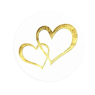 Paper Junkie Valentine's Day Stickers, Metallic Gold Hearts (250-Pack): Toys & Games