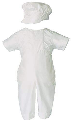 Baby Boys Size 3-6M White Silk Christening Baptism Outfit Set With Hat by Little Things Mean A Lot