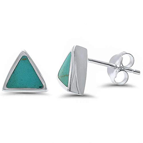Solitaire Triangle Stud Earrings Simulated Turquoise 925 Sterling Silver