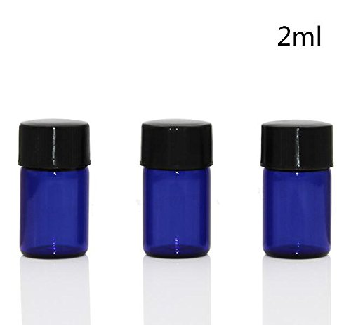 (erioctry 12PCS Empty Glass Bottles with Black Screw Cap Travel Bottle Container Vial Jar for Essential Oil Cosmetic Liquid Sample (Blue) (2ml) )