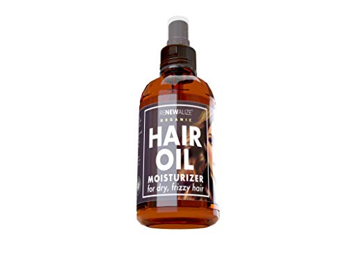 Organic Hair Oil Moisturizer Blend of Argan, Grapeseed, Jojoba, Olive and Lavender for Dry Hair and Scalp Treatment | Hot oil treatments for split end repair and frizzy hair | Large 4 oz spray bottle