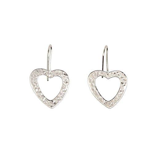 Handmade sterling silver valentines hammered dangle open heart earrings (Heart Earrings Polished Open)