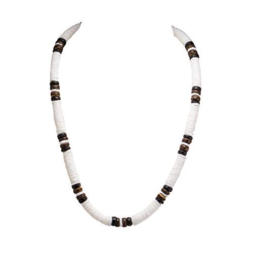 White Puka Shell Necklace with Wood Coco Beads (Brown)