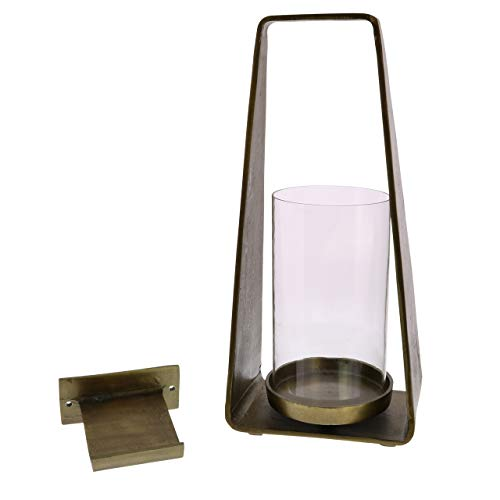 My Swanky Home Rustic Minimalist Brass Bronze Candle Wall Sconce | Lantern Hurricane Vintage -