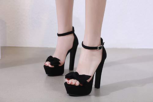 Da Button Platform Black Donna High Bows Sandals Fengjingyuan Scarpe Heel Women's Thick Fashion 6agFvTO