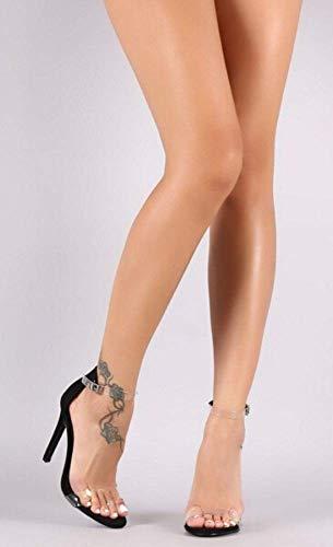 Passerella Dimensioni Donna Scarpe Nero Da Di Eleganti Sexy Alto Cristallo Sandali Oudan E Con Tacco Trasparenti Grandi 7xEaw6UqY