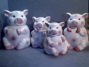 Amazon Com Pigs Piggy 3 Dimensional Majolica 4 Canisters Set Pig Kitchen Storage And Organization Product Sets