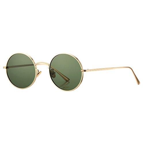 COASION Vintage Round Metal Sunglasses John Lennon Style Small Unisex Sun Glasses (Gold Frame/G15 Lens) ()