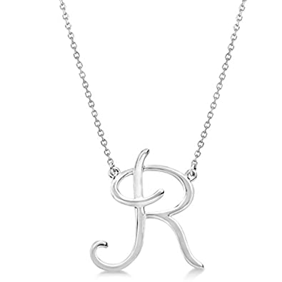 Sterling Silver Necklace for Women /& Girls Personalized Cursive Script Single Initial Pendant in Sterling Silver