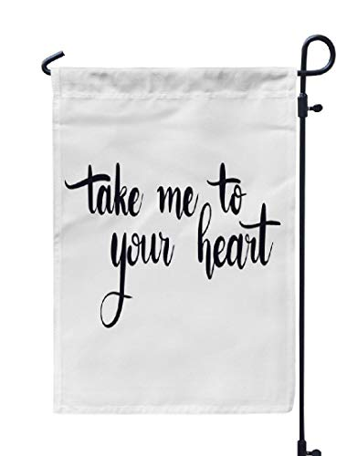 Soopat Follow Your Heart Seasonal Flag, Take Heart Art Artistic Banner Weatherproof Double Stitched Outdoor Decorative Flags for Garden Yard 12''L x 18''W Welcome Garden Flag