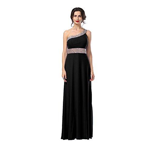 long black one shoulder dress - 8