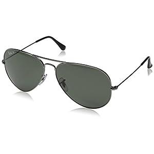 Ray-Ban 3025 Aviator Large Metal Non-Mirrored Polarized Sunglasses, Crystal Green/Gunmetal