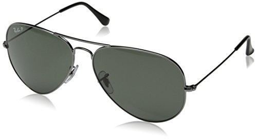 Ray-Ban AVIATOR LARGE METAL - GUNMETAL Frame CRYSTAL GREEN POLARIZED Lenses 62mm - Ban Men Aviators Ray