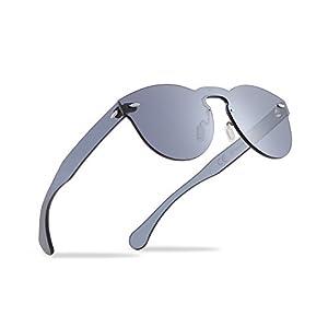 2020VentiVenti Vintage Sunglasses for Women Round Lens Rimless Frames 53mm UV400 Protection PC1602C01 (Black, Smoke)