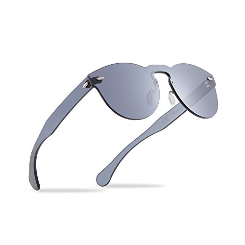 2020Ventiventi Vintage Round Sunglasses for Women/Men Black Lens 53mm No Frames UV400 Protection for Driving PC1602C01 (Black, Smoke)