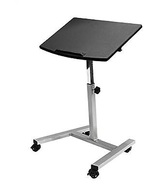 Seville Classics Tilting Mobile Laptop Desk Cart, Black 2-Pack