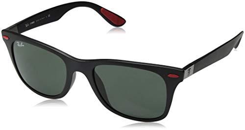 Ray-Ban RB4195MF Scuderia Ferrari Collection Asian Fit Wayfarer Sunglasses, Matte Black/Green, 52 mm (Ray Ban Sonnenbrillen Frauen)