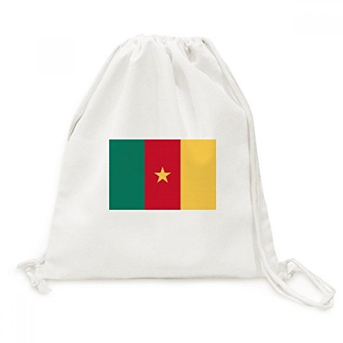 (Cameroon National Flag Africa Country Canvas Drawstring Backpack Travel Shopping Bags)