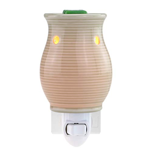 STAR MOON Pluggable Ceramic Fragance Candle Wax Melt Warmer No fire Hazard Packed with Two Bulbs - Light Gray Pinstripe Vase ()