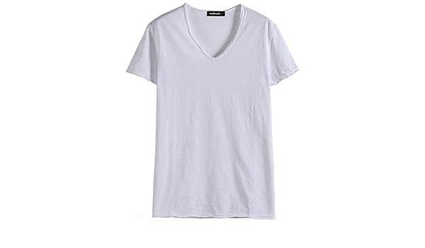 YKDDJJ 100% Algodón Camiseta Hombre Sólido Slim Fit Cuello En V ...