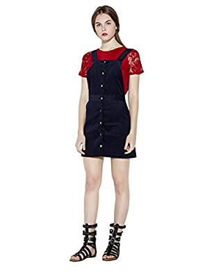 Irisie Womens Button Front Corduroy A-Line Mini Overall Dress