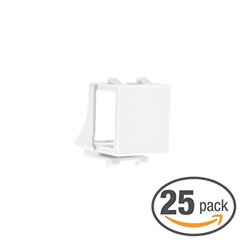 (Mediabridge Blank Keystone Jack (White) - Blank Insert for Keystone Wall Plate - 25 Pack (Part# 51J-00-WH-25PK ))