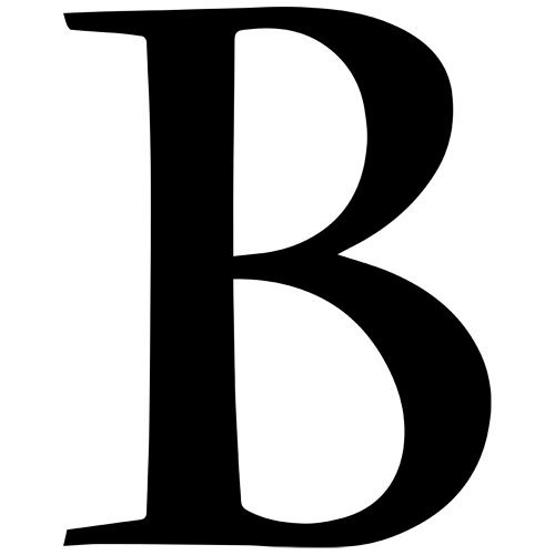 Set of 3 - Letter B Style #37 Decal Sticker Color: Black- Peel and Stick Vinyl Sticker