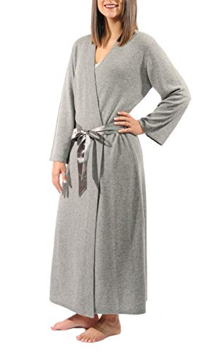 Gigi Reaume 100% Cashmere Women's Robe, Kimono Wrap Style, Satin Belt, Short and Long Length (X-Large, Grey Heather Long)