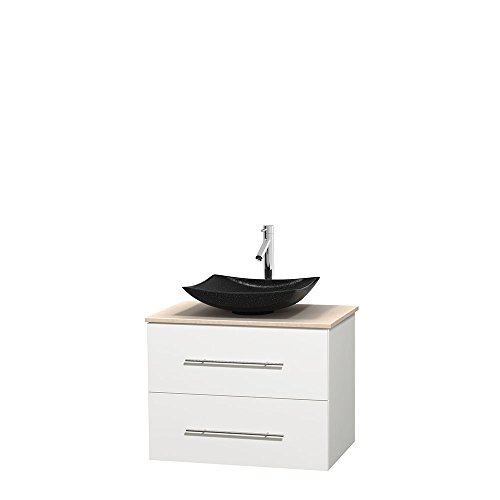 Wyndham Collection Centra 30 inch Single Bathroom Vanity in Matte White, Ivory Marble Countertop, Arista Black Granite Sink, and No Mirror