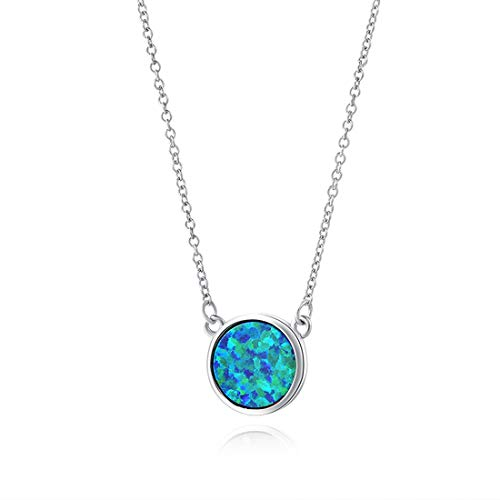 Carleen 18K White Gold Plated 925 Sterling Silver Created Opal/Turquoise/Marble Dainty Pendant Necklace for Women Gilrs with 16+2