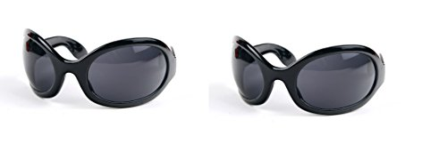 Pop Fashionwear Unisex Color Bug Eye Sunglasses Retro Rave Shades P501 (2 Pcs Black-Smoke Lens & Black-Smoke - Mens Sunglasses Eye Bug