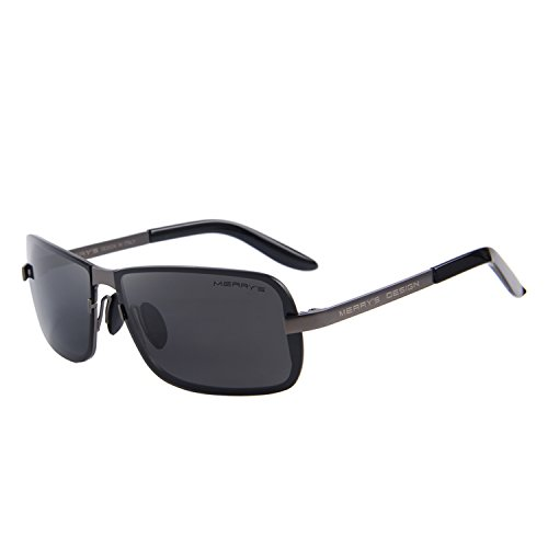 MERRY'S Men Sunglasses HD Polarized Sun glasses Luxury Shades UV400 S8722 (Gray&Black, 59) (Sun Shades Box compare prices)