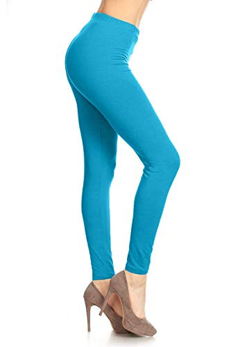 Pink Stretch Leggings - SXL128-Turquoise Basic Solid Leggings, Plus Size