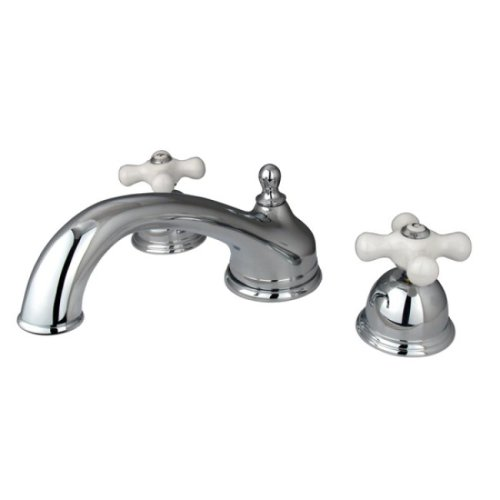Kingston Brass KS3351PX Vintage Roman Tub Filler with Porcelain Cross Handle, Polished Chrome