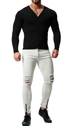 Tops Tricoté Col Homme En Lightweight Boutonné Mélangé Sport Gilet V Sweatshirts Coton B noir Cardigan Veste Elonglin Loisirs De qxXWYdwOqf