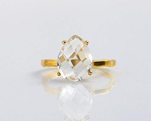 Clear Quartz ring, stackable ring, Vermeil Gold or silver, prong set ring, teardrop ring, April Birthstone ring, Birthday gift, gemstone teardrop ring