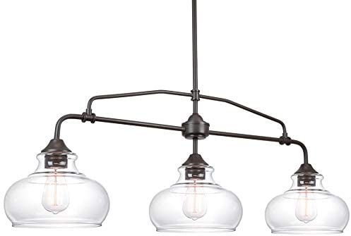 Kira Home Harlow 37.5 Modern Industrial Farmhouse 3-Light Island Light with Clear Glass Shades, Adjustable Hanging Height, Oil Rubbed Bronze Finish